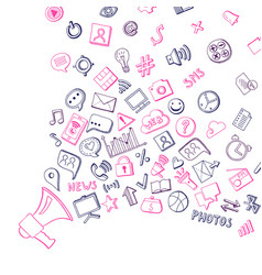 social media hand drawn elements flying out vector image vector image