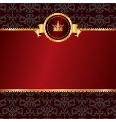 Vintage red background with frame of golden vector image vector image