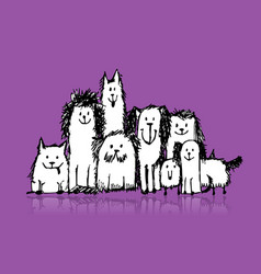 dogs family sketch for your design vector image