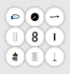 flat icon component set of auto component packing vector image vector image