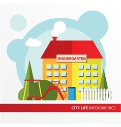 Kindergarten building icon in the flat style vector image