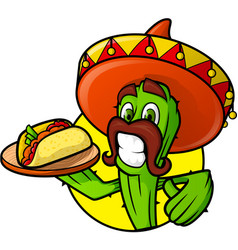 mexican cactus with taco vector image