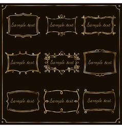 Set of gold frames in vintage style vector image vector image