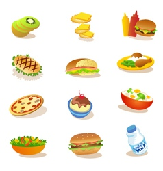 set of healthy food vector image
