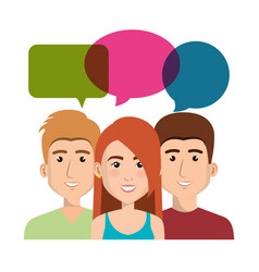 young people with speech bubbles avatars group vector image