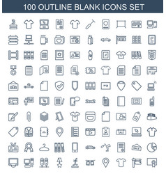 100 blank icons vector image