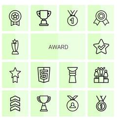 14 award icons vector