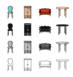 a chair a wardrobe a couch a dining table vector image