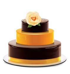 A multi layered chocolate cake with rose vector