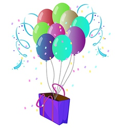 A violet bag with ten different colors of balloons vector