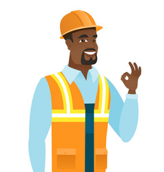 African-american smiling builder showing ok sign vector
