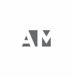 Am logo monogram with negative space style design vector
