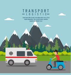 ambulance vehicle transport icon vector image