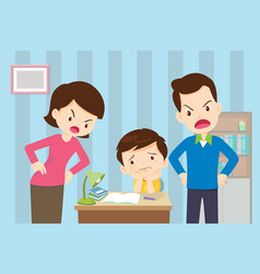 Angry mother and father to son so bad education vector