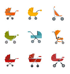 Baby carriage icon set flat style vector