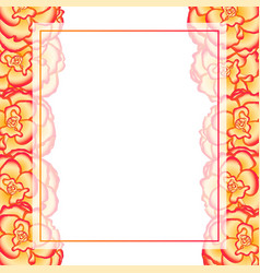 Begonia flower picotee sunburst banner card border vector