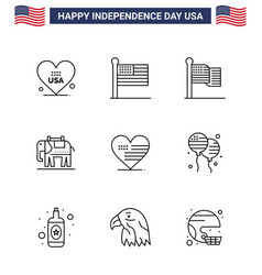 Big pack 9 usa happy independence day usa vector