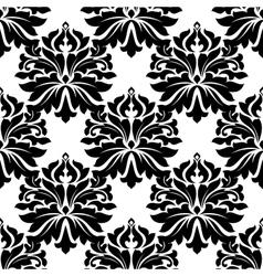 Black classic damask seamless pattern vector