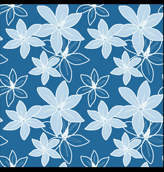 blue seamless hibiscus pattern vector image