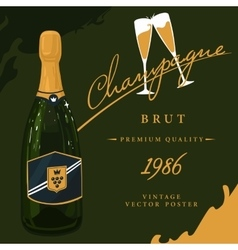 Bottle of champagne with two glasses poster vector image