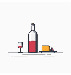 bottle wine an cheese vector image
