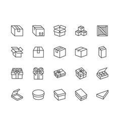 Box flat line icon set carton wood boxes vector