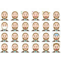 businessman various expressions set vector image