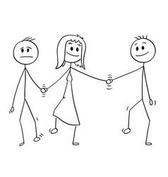 cartoon heterosexual couple walking and vector image