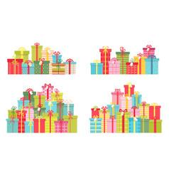 cartoon pile of christmas and birthday presents vector image
