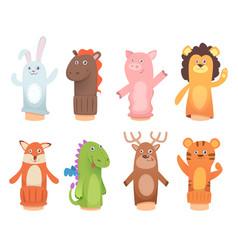 Cartoon puppets dolls from socks on hands vector