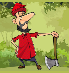 Cartoon serious lumberjack in forest with an ax vector