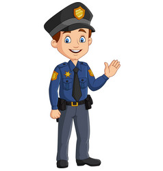 cartoon smiling policeman waving hand vector image