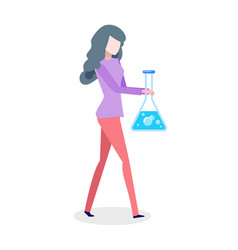 chemist woman holding bolb with blue liquid vector image