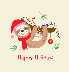 christmas card with cute sloth vector image