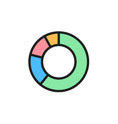 circle graph flat color icon isolated on white vector image