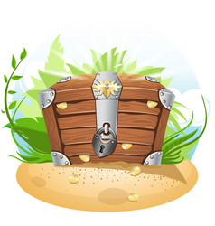 Closed treasure chest cartoon vector