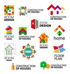 Collection of logos construction and repair vector