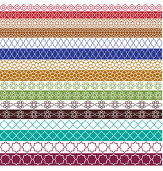Colorful moroccan border patterns vector