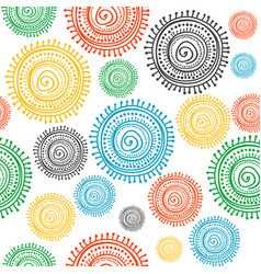 colorful stylized ethnic sun seamless vector image