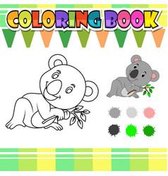 Coloring book cute koala cartoon vector