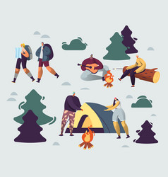 company young people spend time at summer camp vector image