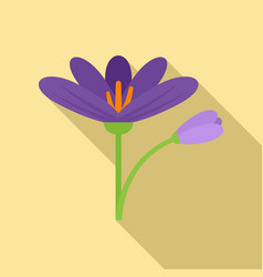 Crocus flower icon flat style vector