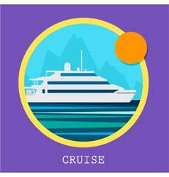 Cruise Ship Retro styled vector image