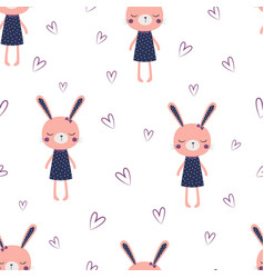 cute bunny girl pattern vector image