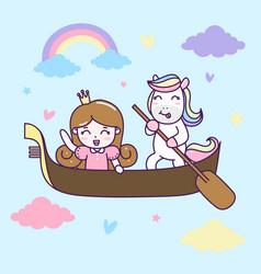 cute unicorn and princess ride a boat vector image