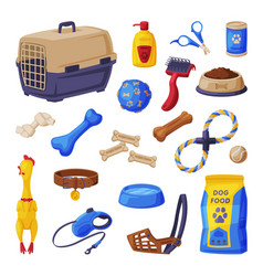dog accessories set pet shop products food vector image
