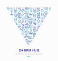 eco smart house concept in triangle vector image