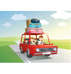 Family road trip travel car with kids vector