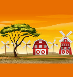 farm scene in nature with barn and windmill vector image