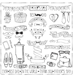 fathers day decor set hand drawing ribbonslinear vector image
